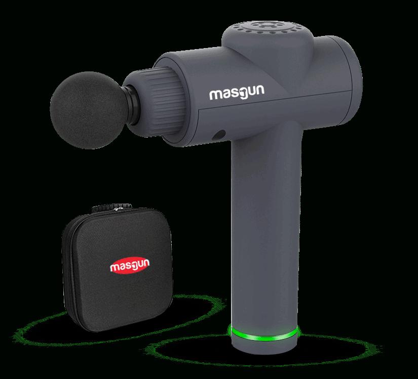 Masgun productafbeelding en luxe koffer vrijstaand